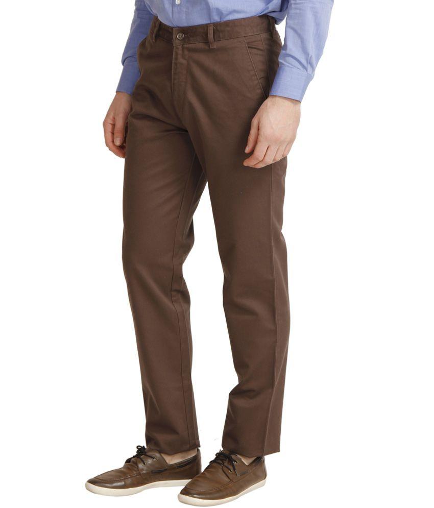 Zeus Brown Cotton Regular Fit Trouser