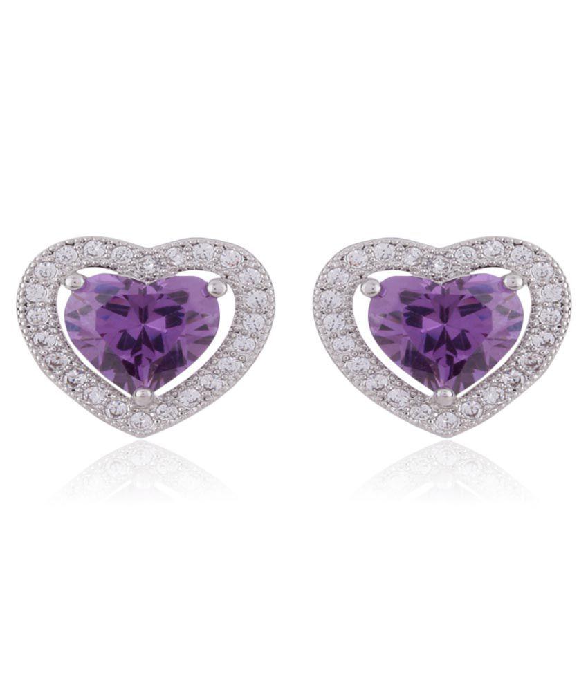 Addons Purple Daily Wear Stud Earrings