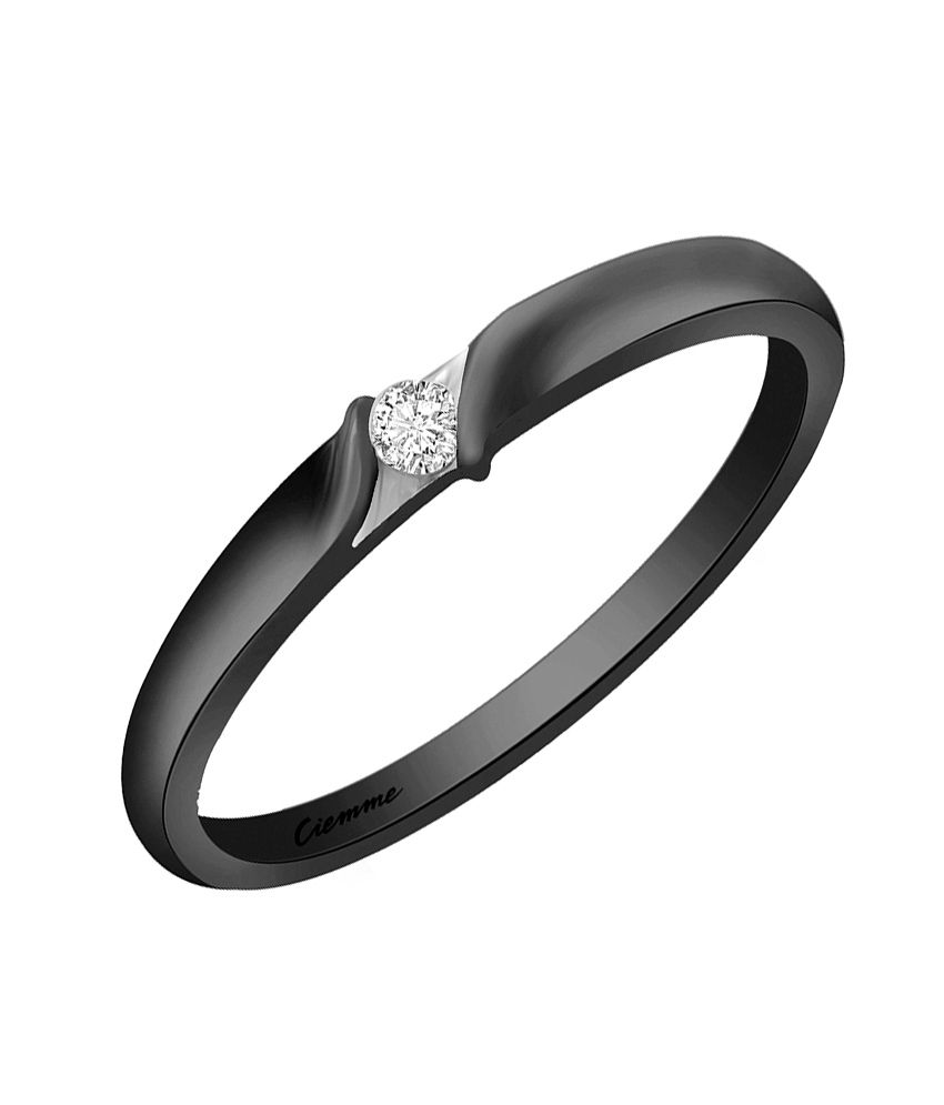 Ciemme 0.10 Ct Black Rhodium Plated Single Solitaire CZ Ring