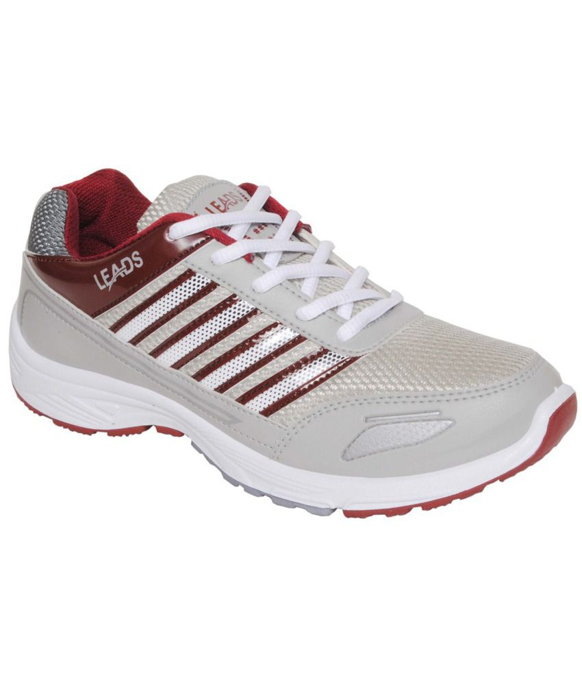 Leads Footwear Gray MeshTextile Sports Shoes For Men