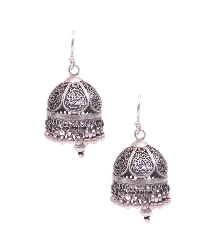 Rubera Traditional Silver 92.5 Jhumki Earrings