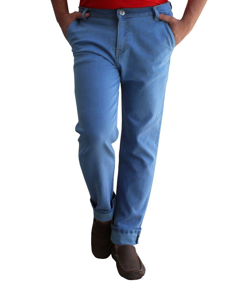 Alan Woods Blue Cotton Jeans For Men