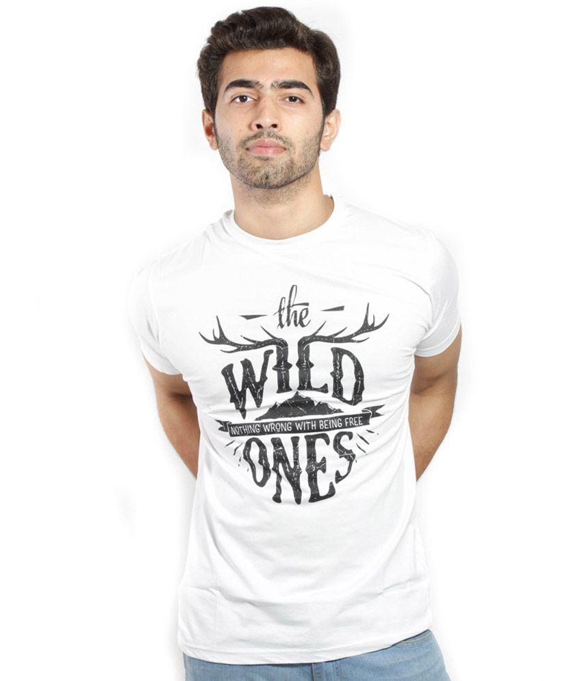 BikersCart White Cotton Round Neck Printed T-Shirt