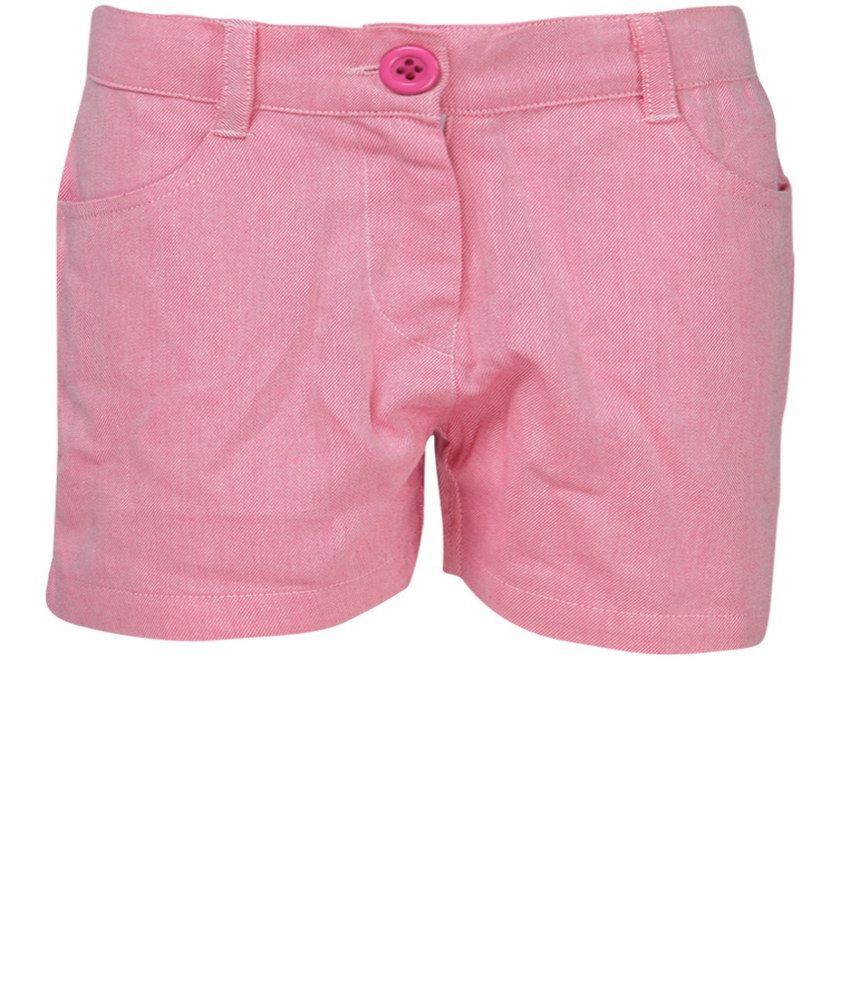 Dreamszone Pink Twill Shorts For Kids