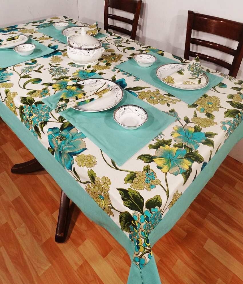 Heritagefabs Harmony Blue Table Cover With 6 Napkins & 6 Table Mats