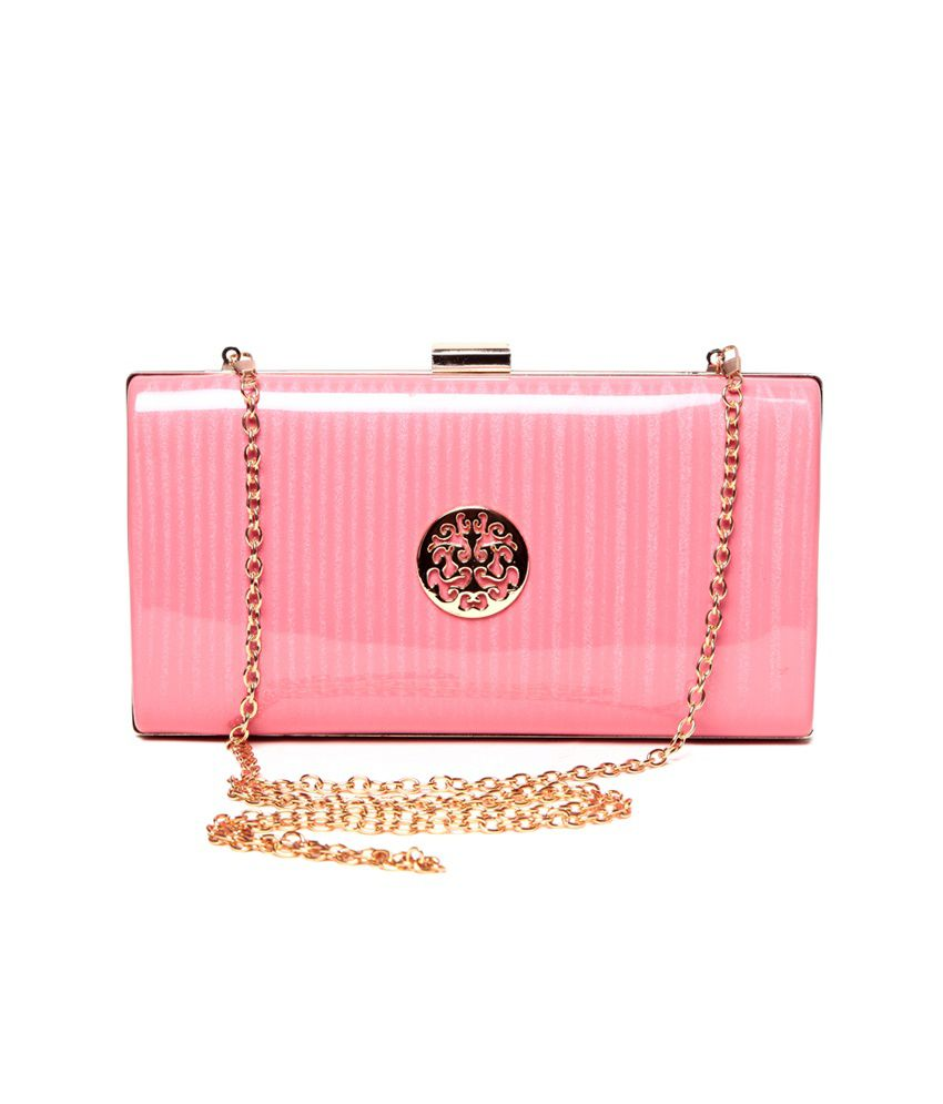 Bagrack Pink P.U. Stylish Clutch