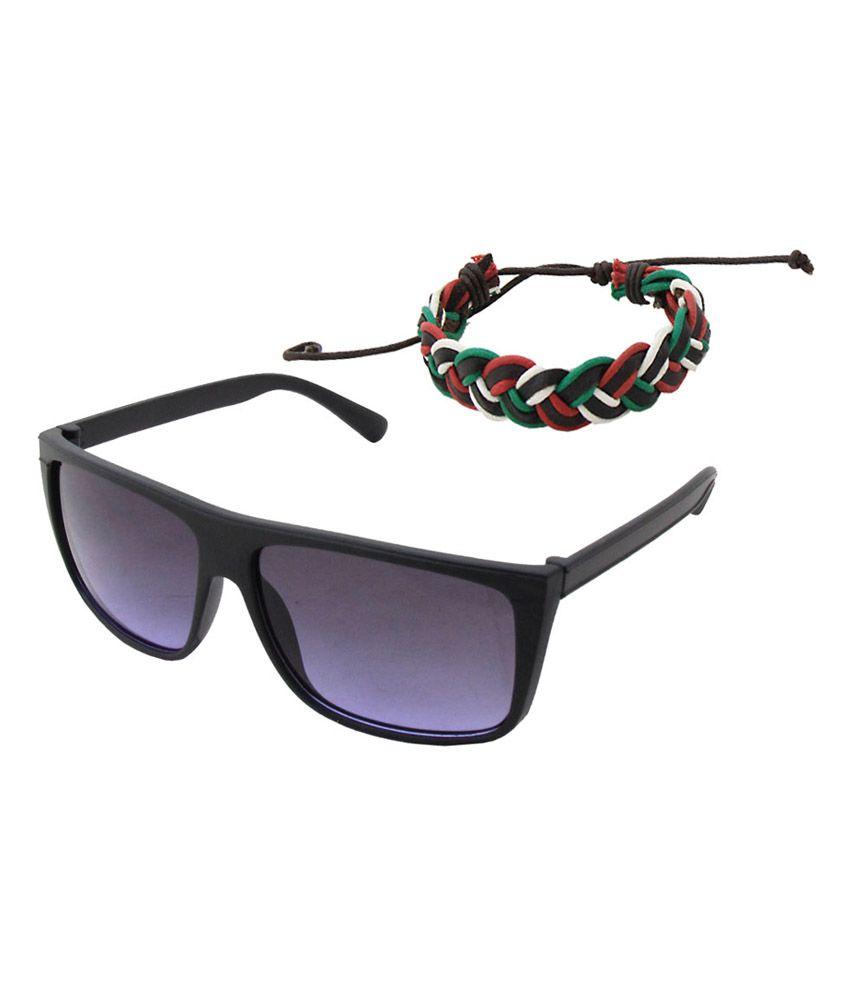 Jstarmart Combo of Classic Black Sunglasses and Wrist Band