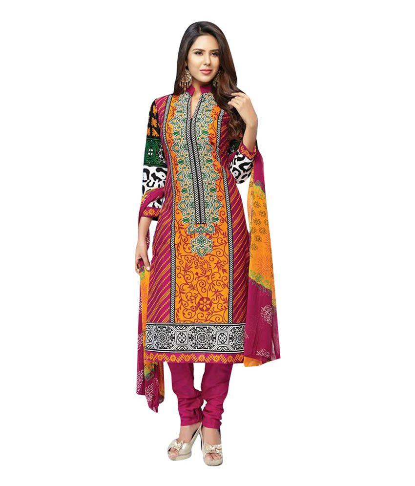 Khwaish Maroon Cotton Bandhej Print Salwar Suit