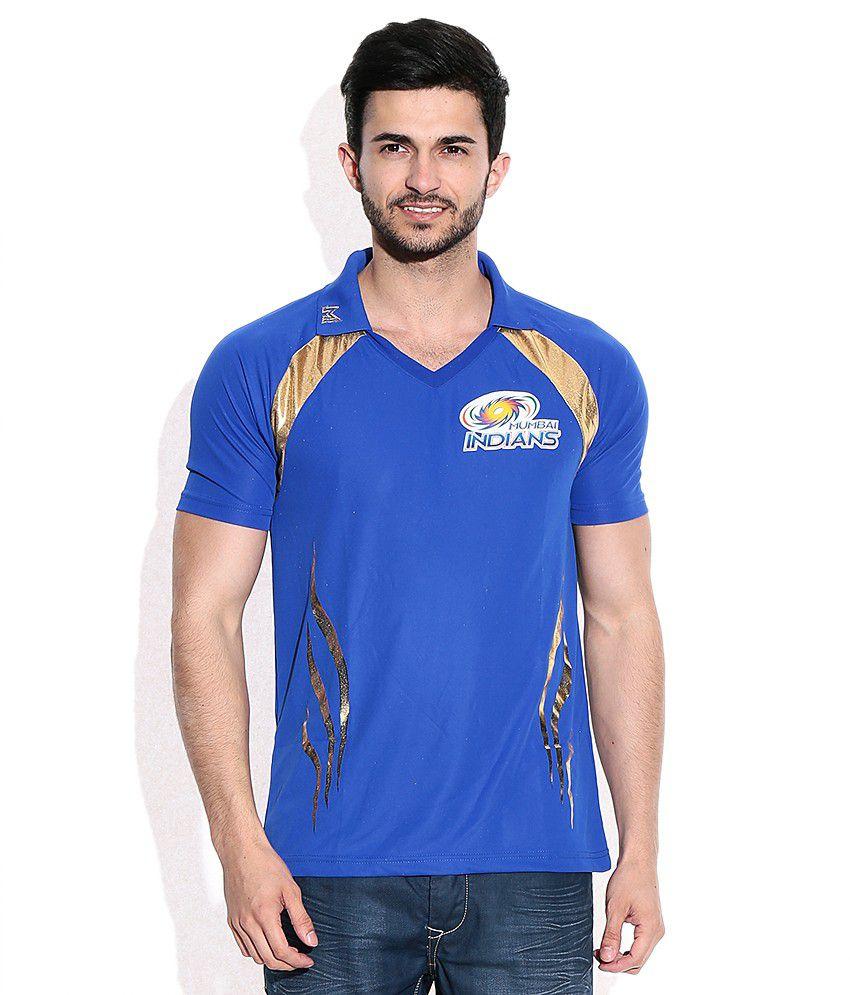 Mumbai Indians Official Men's Blue Johny Collar T-Shirt