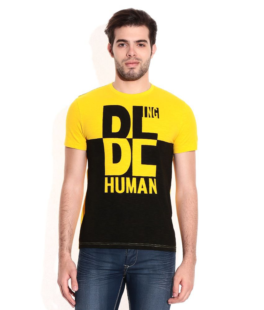 f99142df478 Being Human Yellow Cotton Round Neck T-Shirt - Buy Being Human Yellow  Cotton Round Neck T-Shirt Online at Low Price - Snapdeal.com