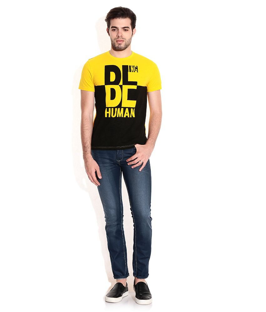 a57c1e40170 Being Human Yellow Cotton Round Neck T-Shirt - Buy Being Human ...