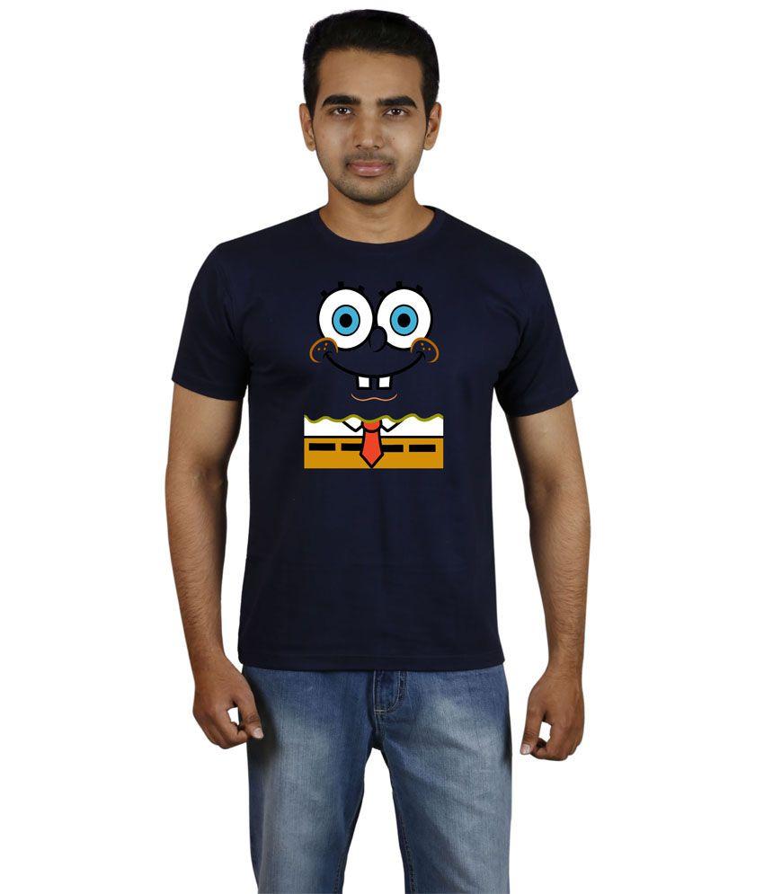 Meedo Navy Cotton Sponge Bob Printed Half T-shirt Men's