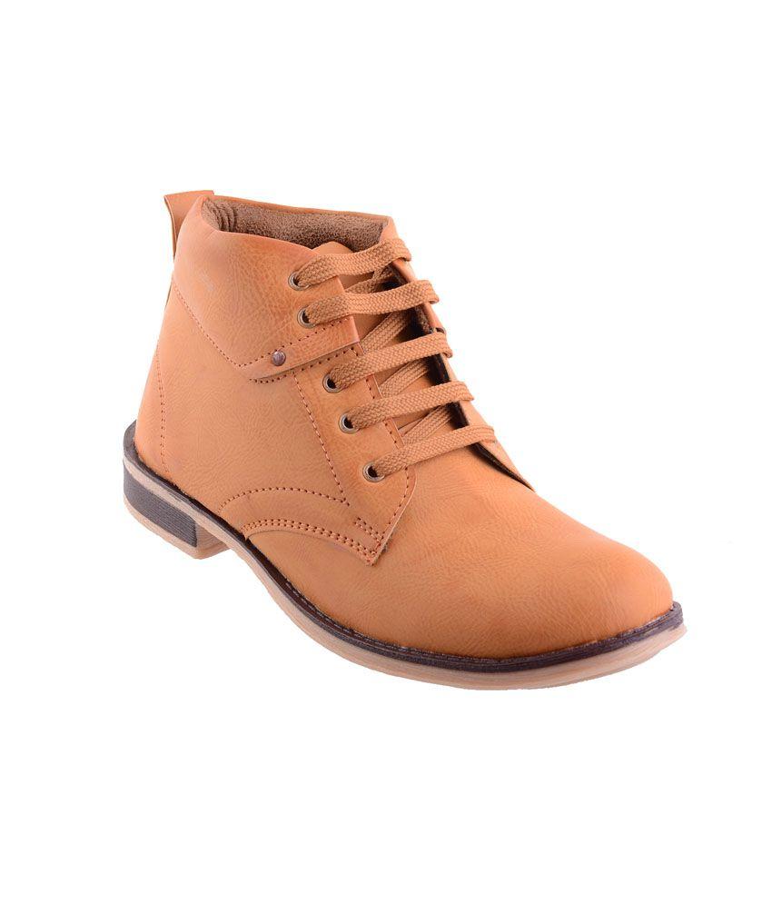 Porcupine Camel Brown Faux Leather Lace Up Boots