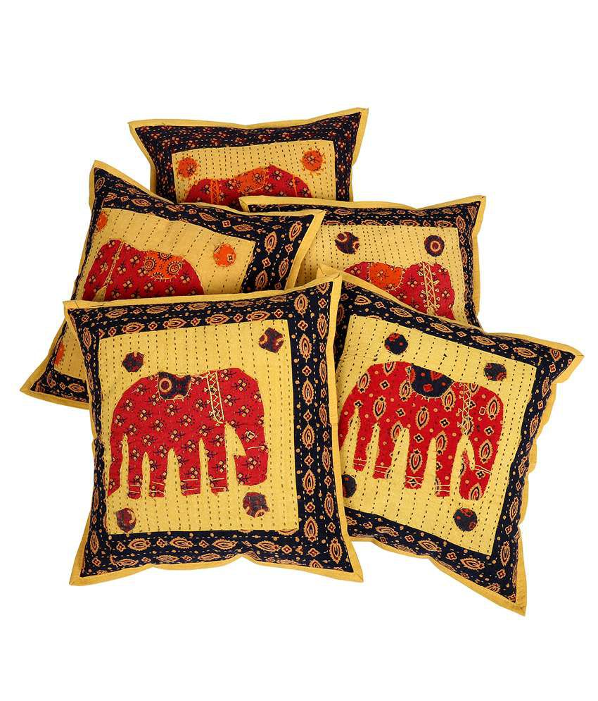Rajrang Elephant Patch With Kantha Mustard Yellow Cotton Set of 5 Pcs. Cushion Cover