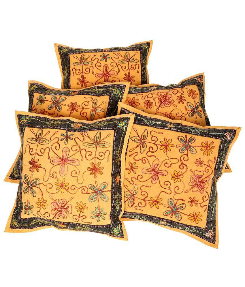 Rajrang Embroidered Mustard Yellow Cotton Set of 5 Pcs. Cushion Cover