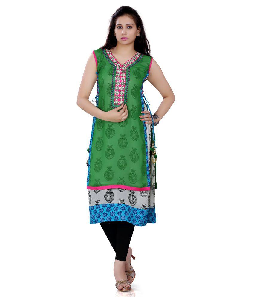 Bhavi Green Cotton Embroidered Kurti