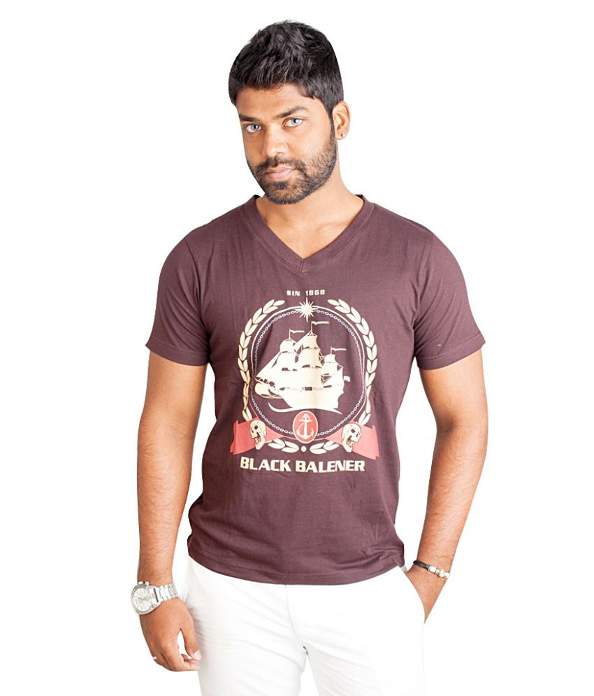 Black Balener Brown Printed Cotton T Shirt