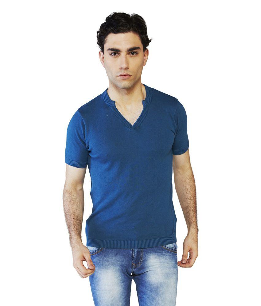Globus Blue Cotton Half Sleeve V-Neck T-Shirt