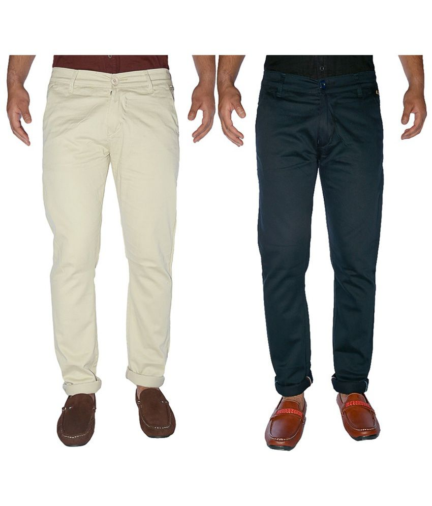 K-san Multicolour Cotton Lycra Chinos - Pack Of 2