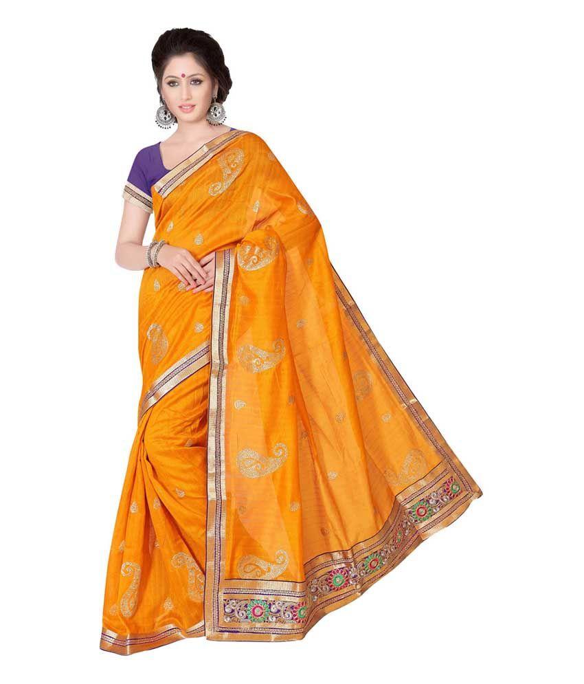 Prachi Silk Mills Yellow Cotton Silk Saree