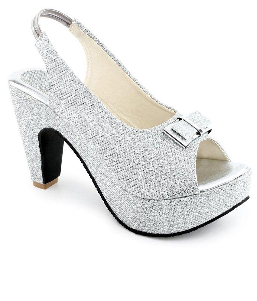 Shoe Lab Silver Faux Leather Heels