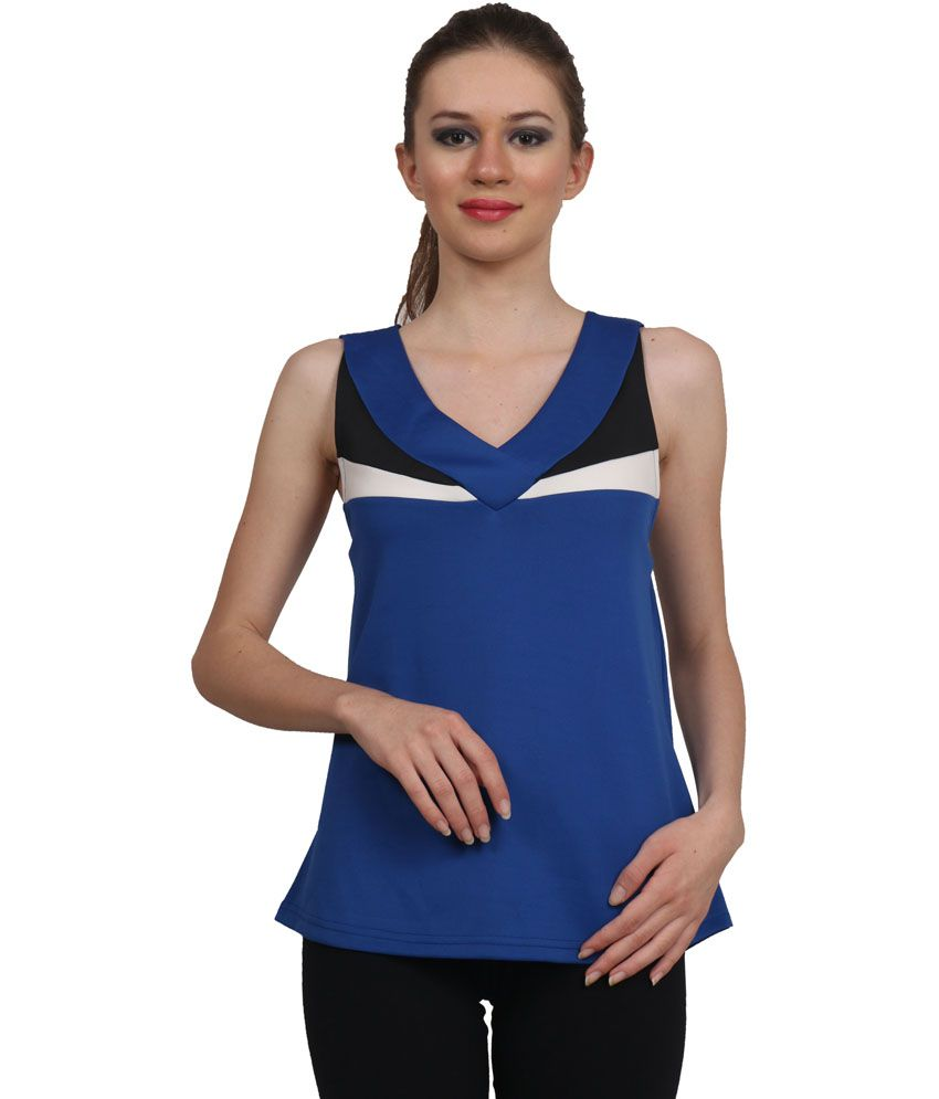 Zinc Blue Sleeveless Racerback Tank Top