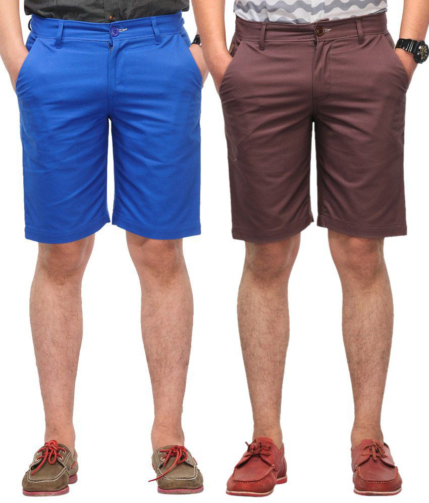 Haute Couture Blue & Brown Solid Shorts Combo Of 2