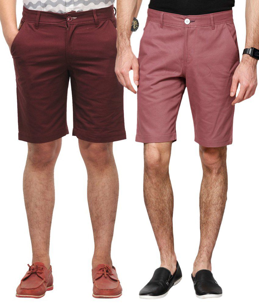 Haute Couture Stylish Brown & Maroon Solid Shorts Combo Of 2
