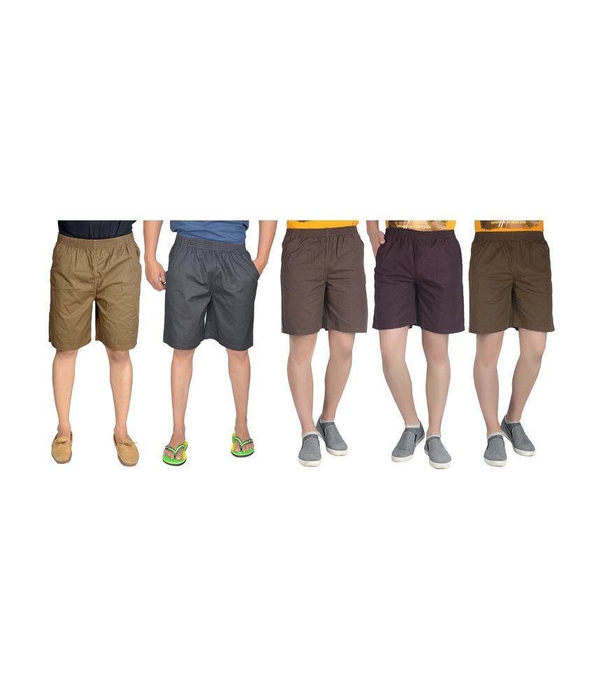 S.a True Fashion Multicolour Cotton Solids Mens Plain Shorts - set of 5