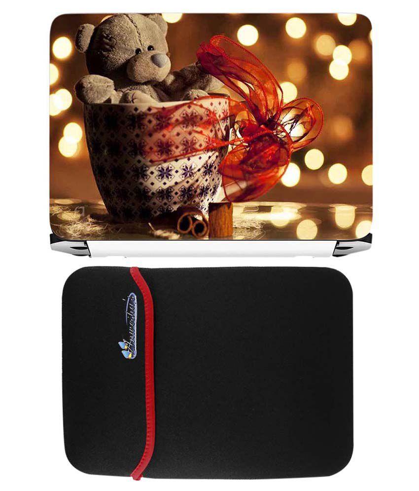 Anwesha's Red Reversible Laptop Sleeve With Teddy Basket Printed Laptop Skin