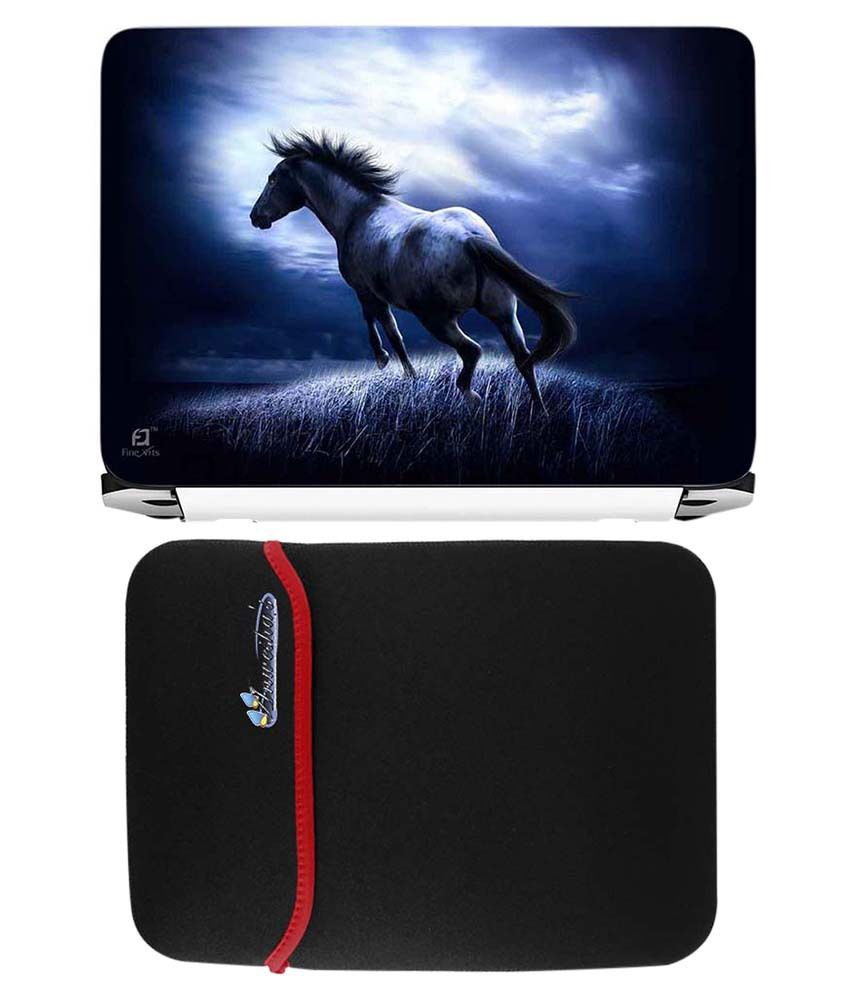 Anwesha's Red Reversible Laptop Sleeve With White Stallion Printed Laptop Skin