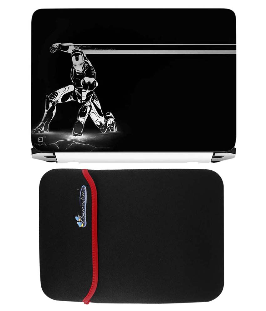 Anwesha's Red Reversible Laptop Sleeve With Iron Man Printed Laptop Skin