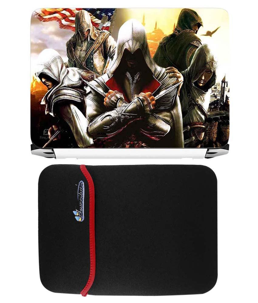Anwesha's Red Reversible Laptop Sleeve With Assassins Printed Laptop Skin