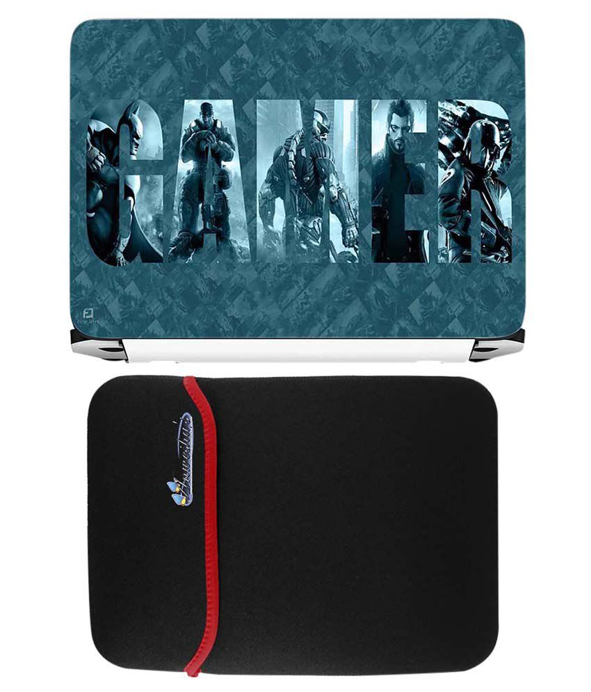 Anwesha's Red Reversible Laptop Sleeve With Gamer Printed Laptop Skin