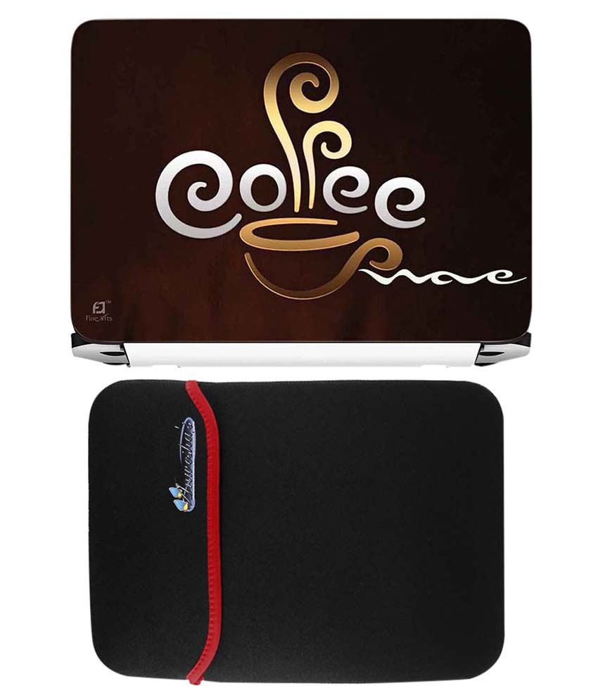 Anwesha's Red Reversible Laptop Sleeve With Coffee Printed Laptop Skin