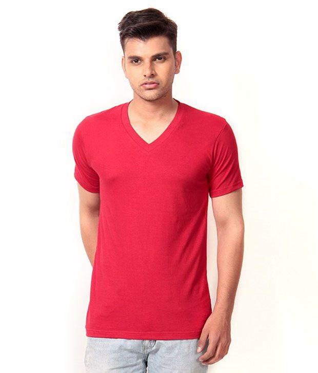 FASHION TOWN Red Cotton Blend Round T-Shirt