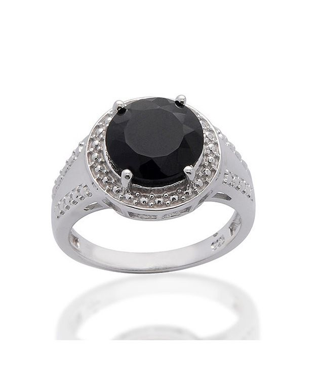 Living Gems Silver Ring with 3.03 cts black onyx