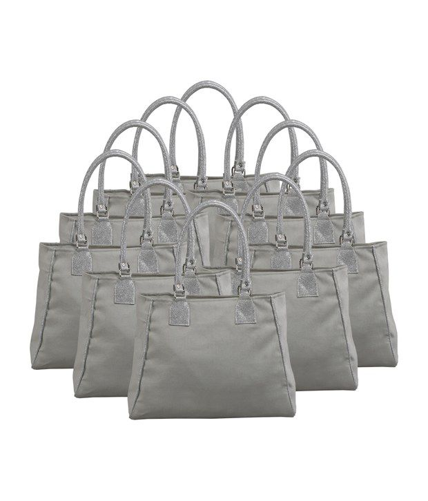 RishteyBags Gray Canvas Cloth Shoulder Bag_Pack Of 10