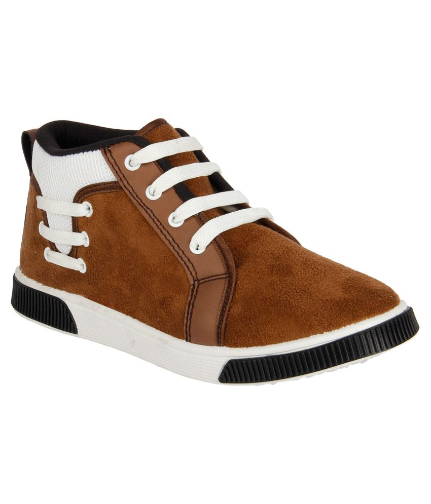 Vivaan Footwear Brown Lace Canvas Casual Shoes