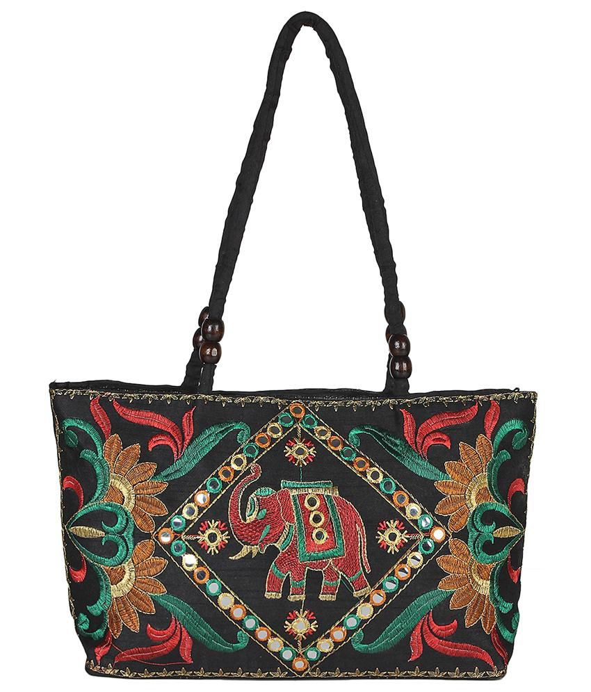 Fashiondrobe Black Diamond Elephant Pattern Embroidery Ethnic Sleek Handbag