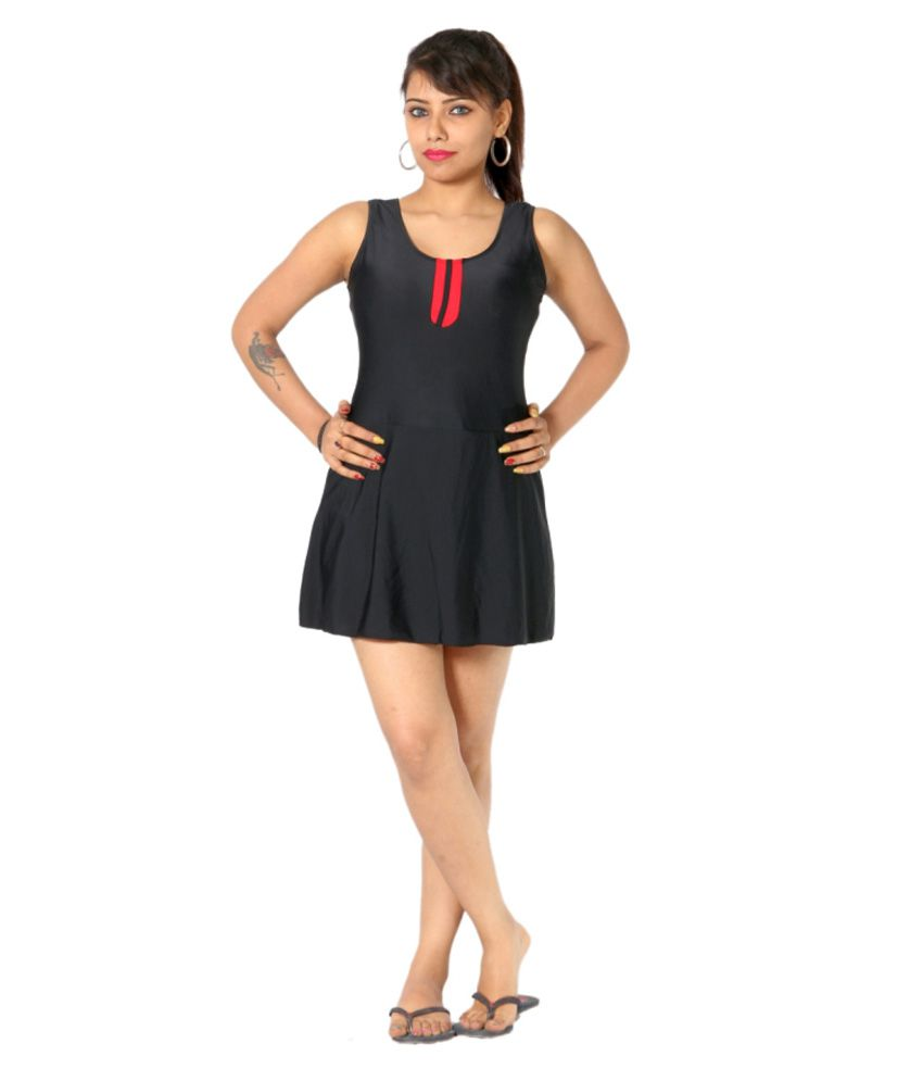 Indraprastha Black Swimsuit With Red Detailing/ Swimming Costume