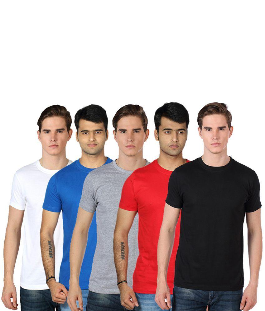Rakshita's Mens round neck Tshirt Set of 5