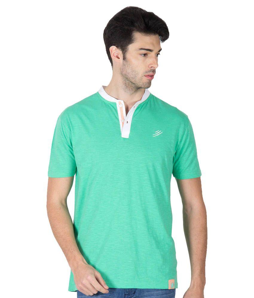 Roar And Growl Green Cotton Half Sleeve Henley T-Shirt