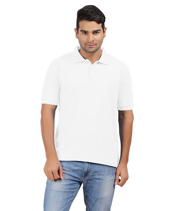 Sri Sowbarnika Tex White Cotton Blend T Shirt For Men