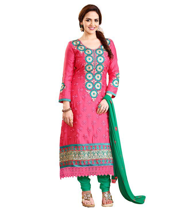 Varanga Pink Straight Fit Semi-Stitched Dress Material with Dupatta