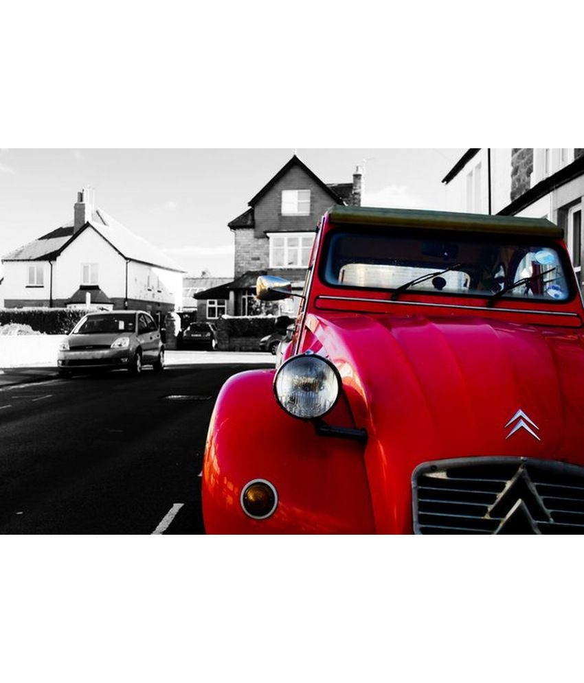 Wonder Images Pvt. Ltd. Beautiful Vintage Red Car Canvas Art