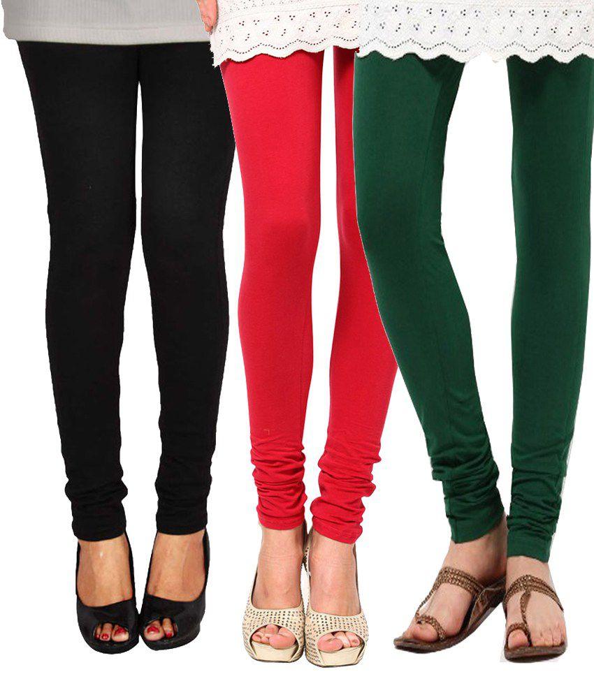 E'hiose Cotton Leggings- Pack Of 3