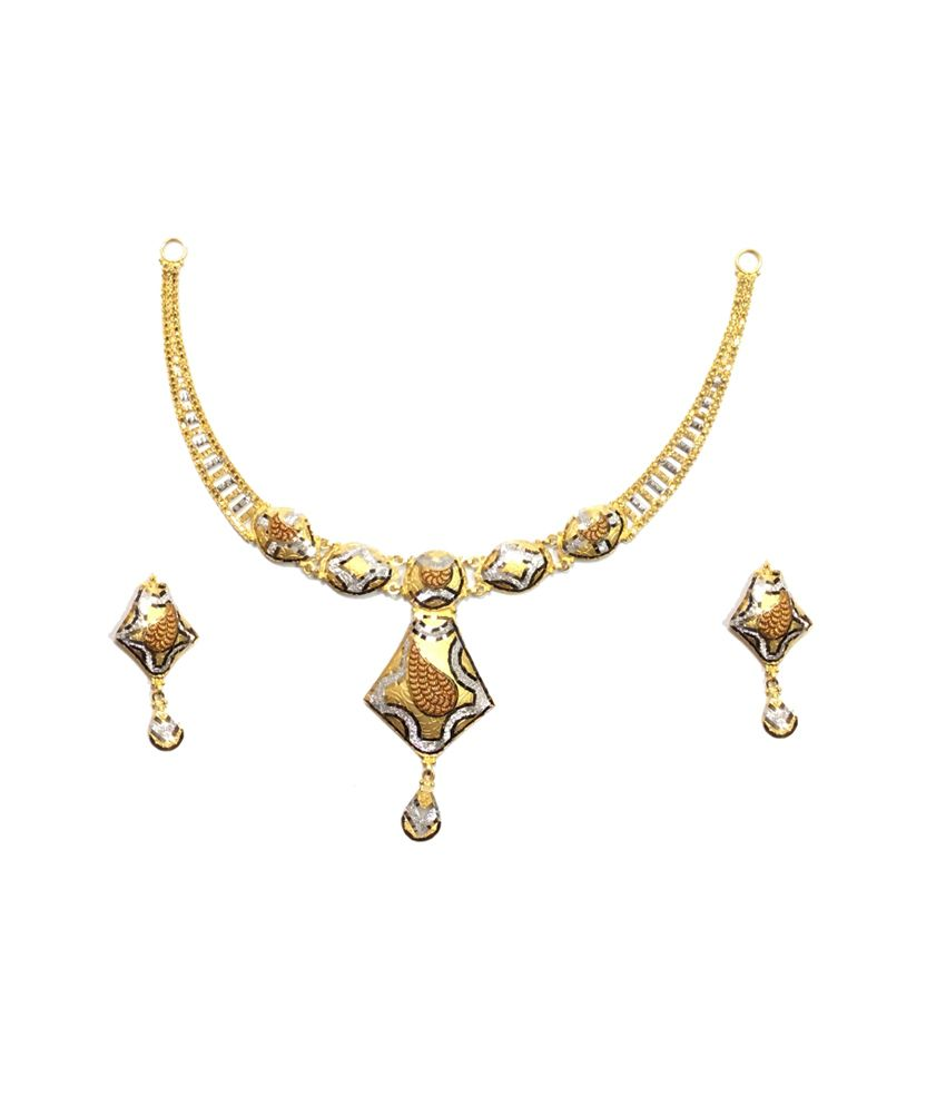 Kataria Jewellers 22kt Hallmarked Gold Rhodium Necklace Set