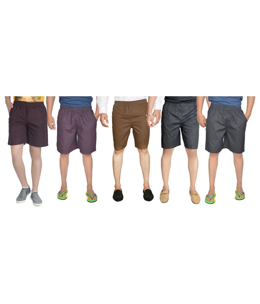 S.a True Fashion Multicolour Cotton Solids Mens Plain Shorts - set of 5
