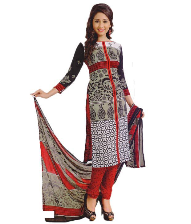 Universal Multi Color Art Crepe Unstitched Dress Material